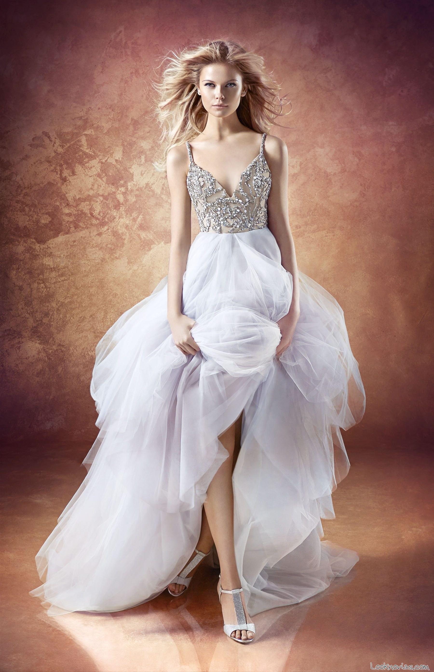vestido novias pedrería y gasa