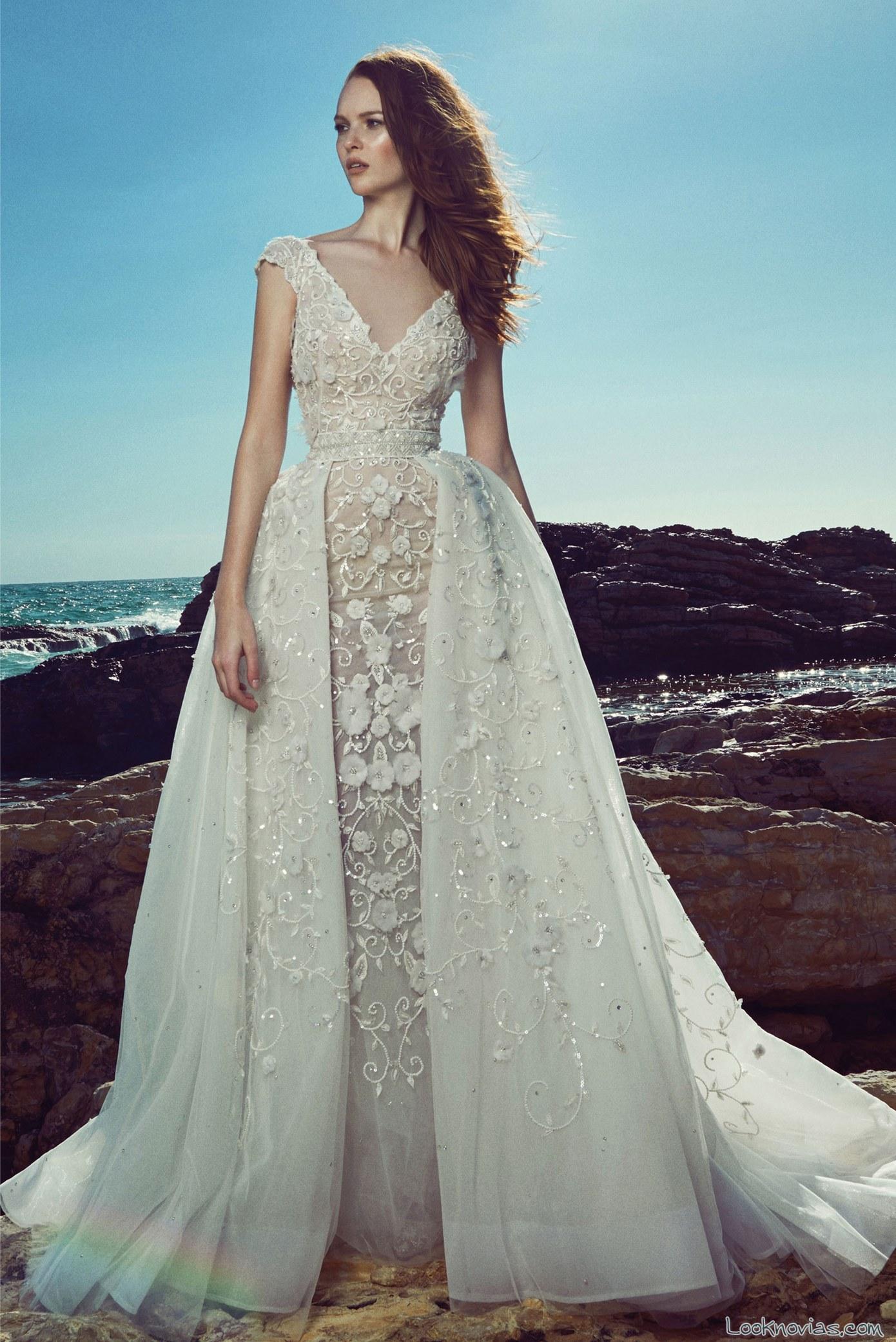 vestido novias zuhair murad 2017 doble falda de gasa
