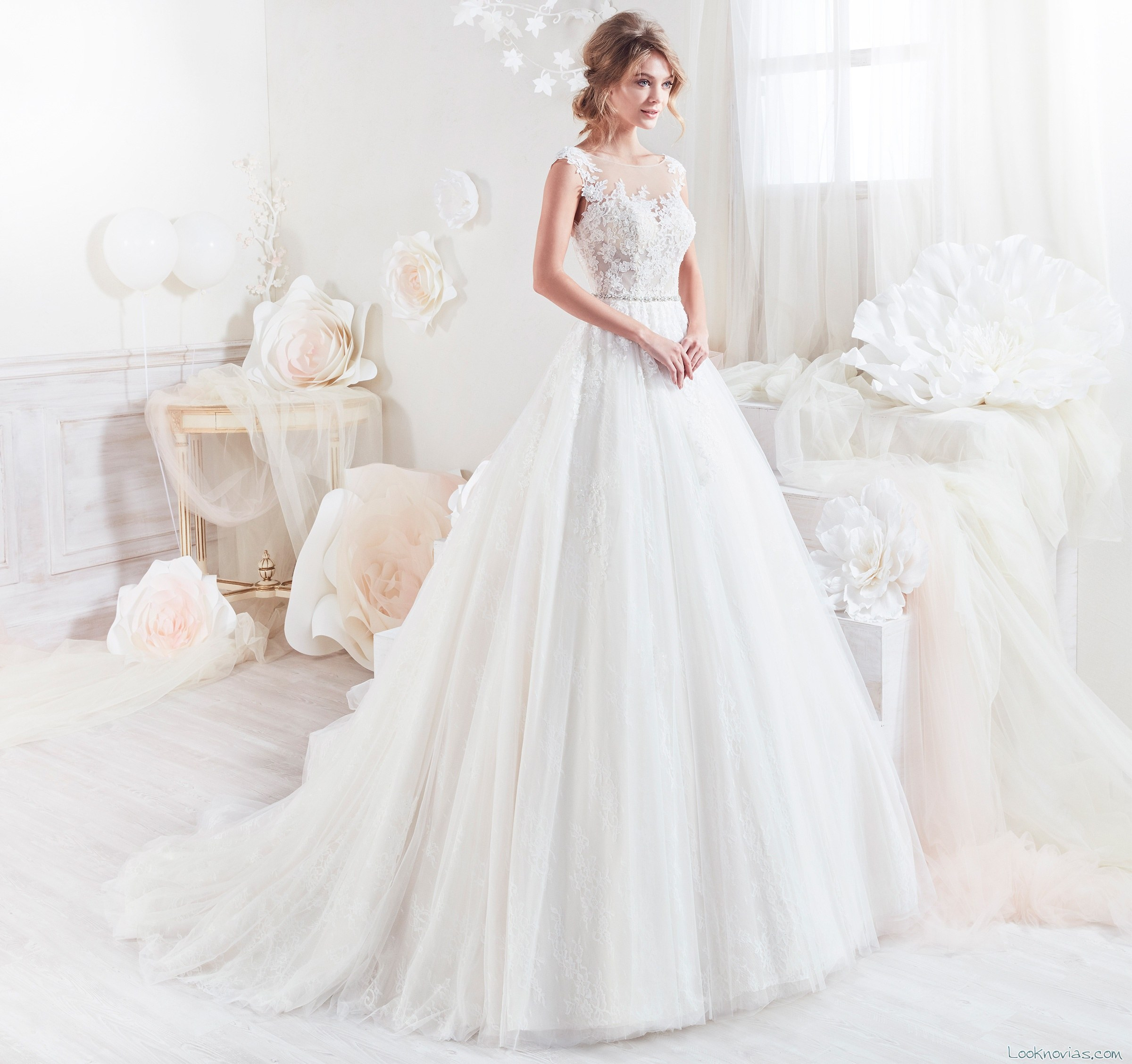 vestido plisado novias colet 2018