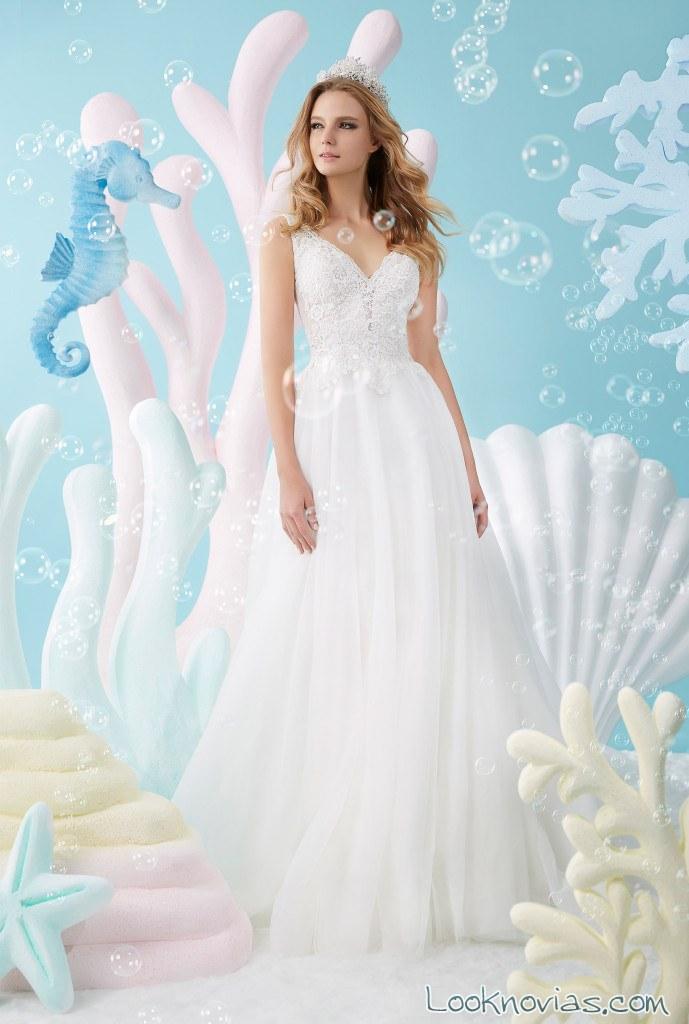 vestido princesa gasa sencillo novias