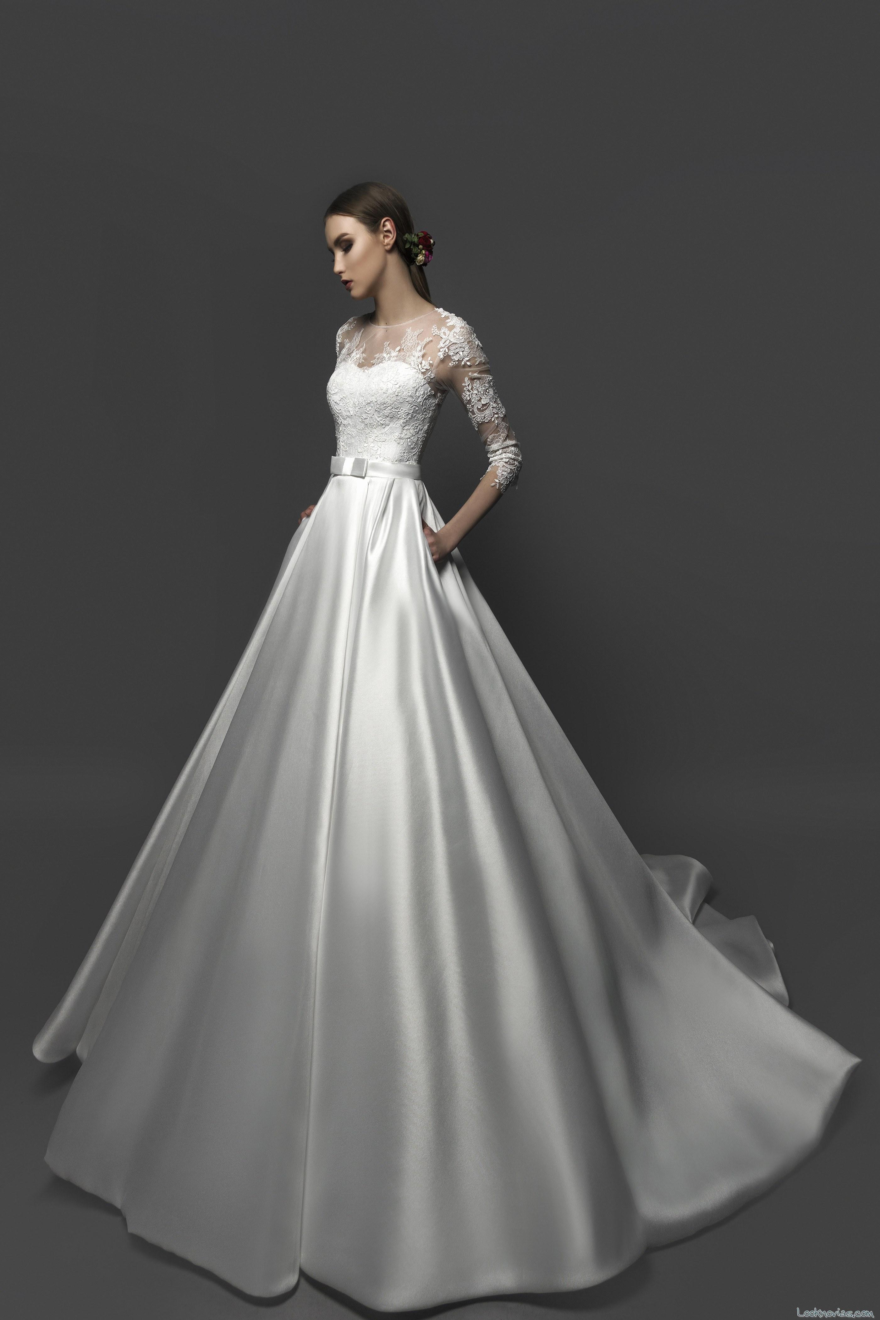 vestido princesa novia con falda lisa