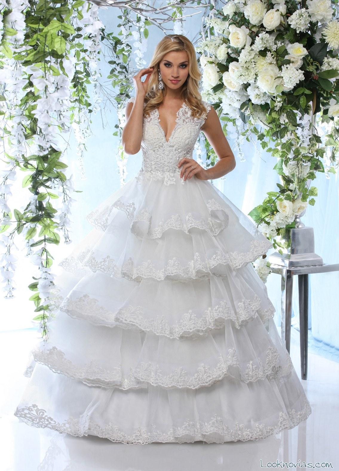 vestido princesa volantes impression bridal