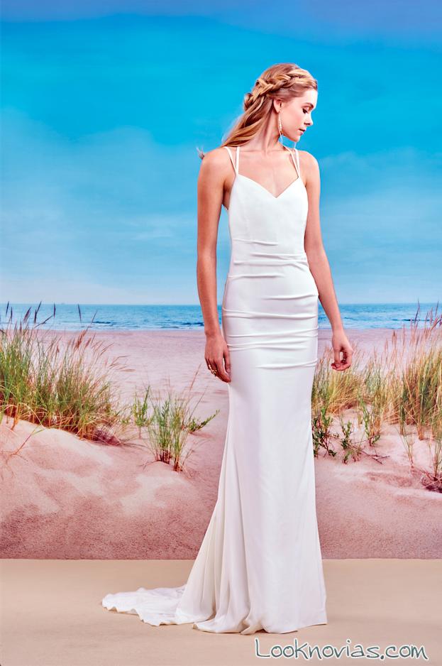 vestido recto color blanco nicole miller