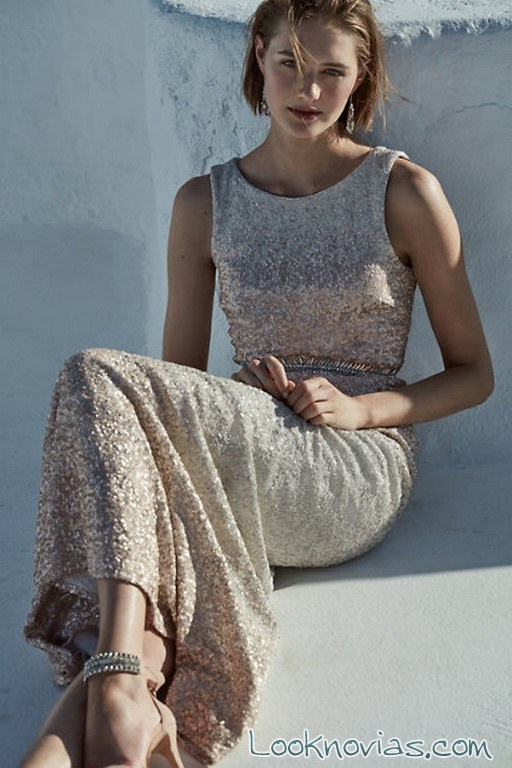 vestido recto color relieve novias BHLDN