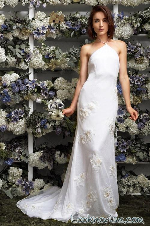 vestido recto con apliques novias lakum