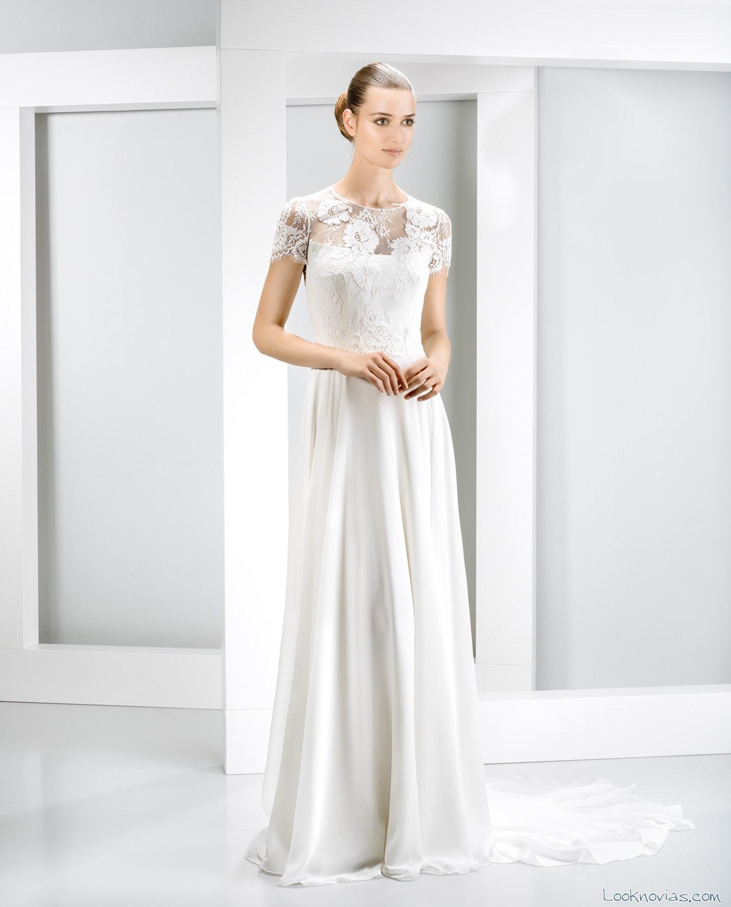 vestido recto con escote de encaje
