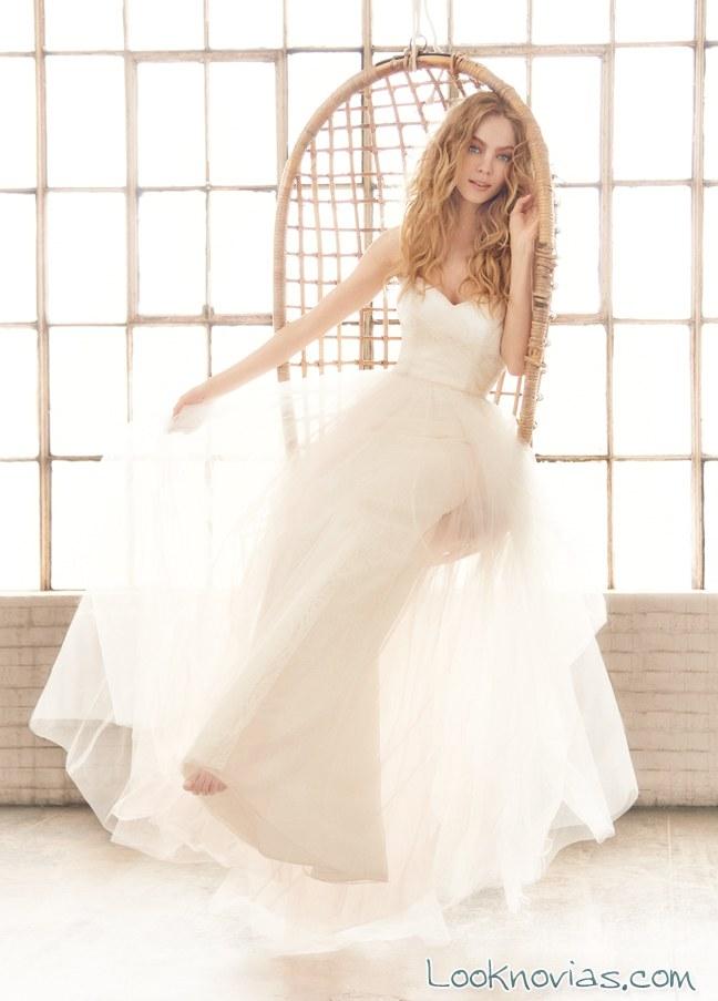 vestido recto con falda de tul de hayley paige