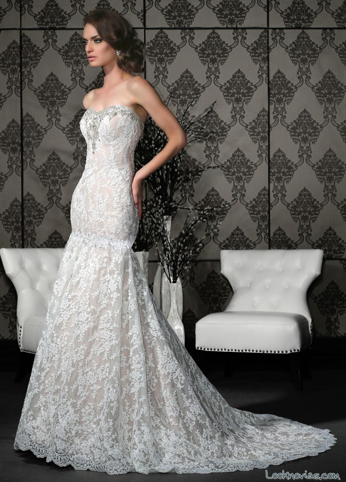vestido recto cuerpo ajustado novias impression bridal