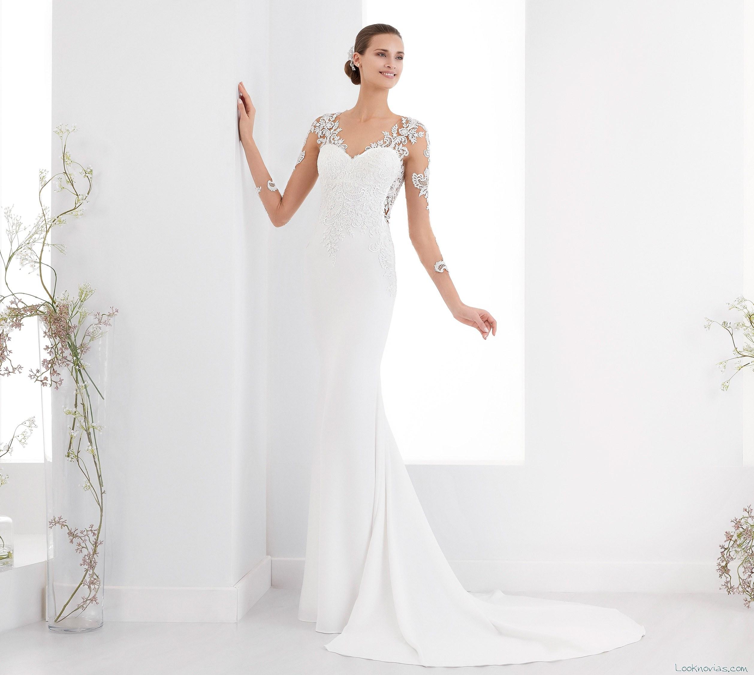 vestido recto de novia blanco aurora