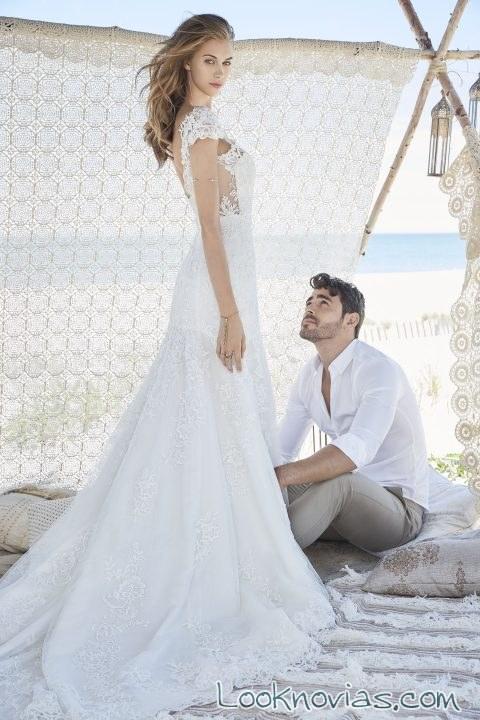 vestido recto de novia con bordados
