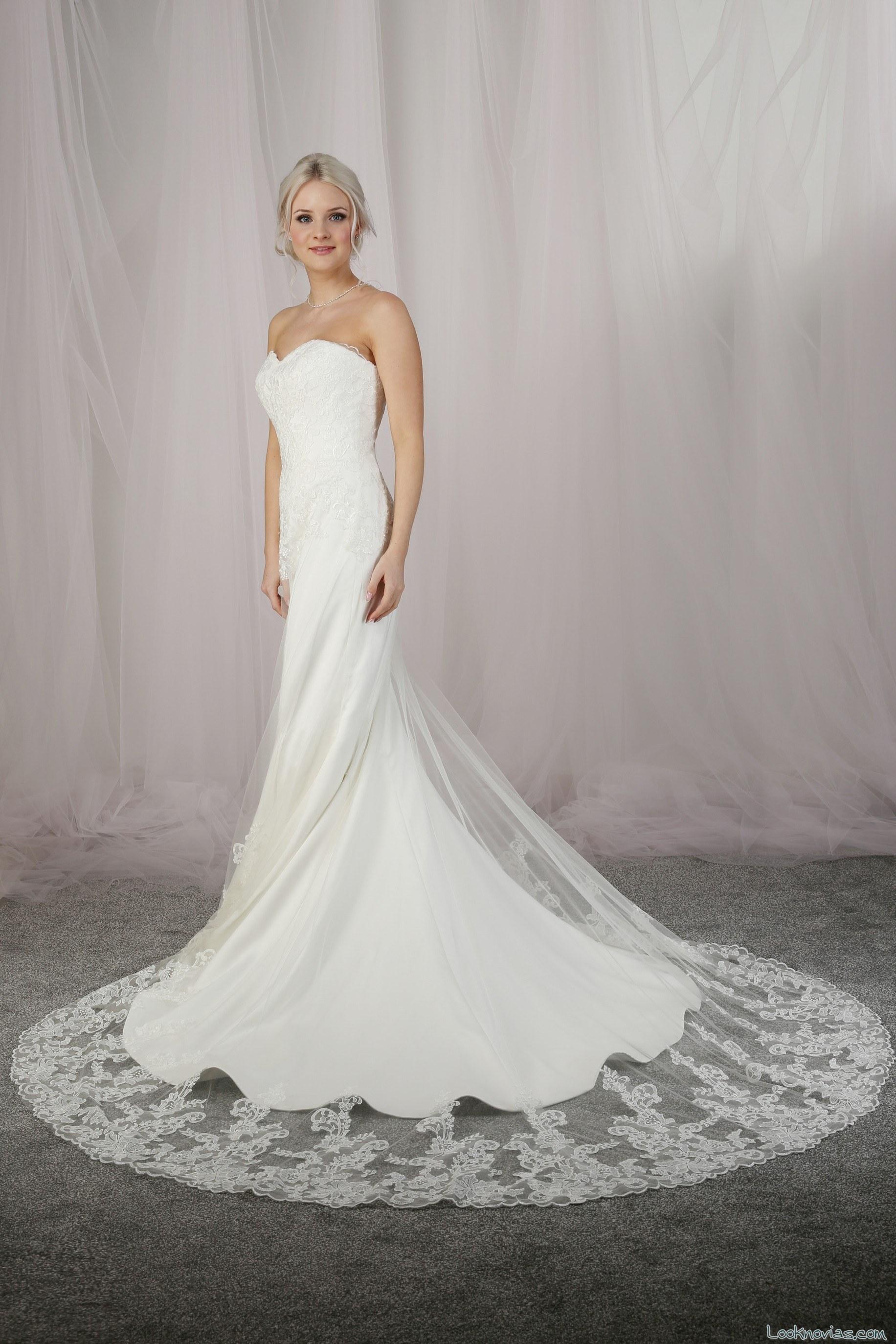 vestido recto de novia con cola otoño 2017