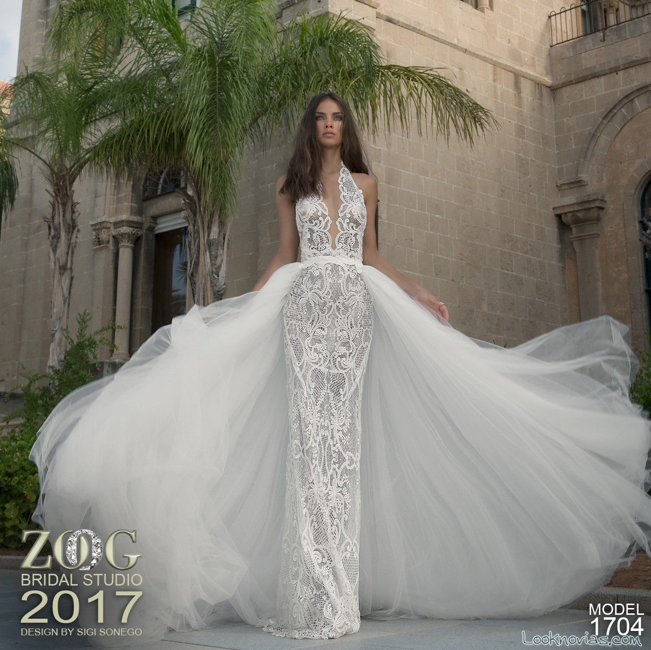 vestido recto de novia con doble falda zoog bridal