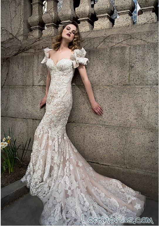 vestido recto encajes novias en color