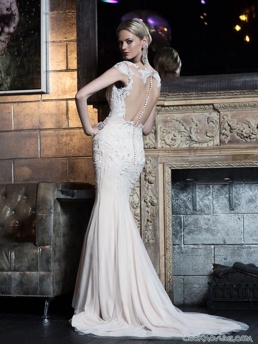 vestido recto escote espalda vh couture