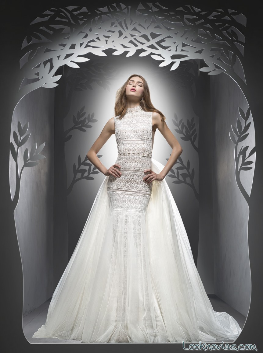 vestido recto falda de gasa transparente novias