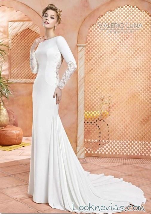 vestido recto liso para novias valerio luna