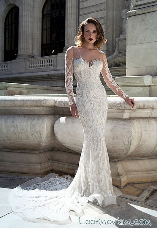 vestido recto mangas novias