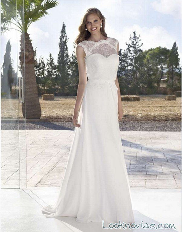 vestido recto marylise para novias 2016