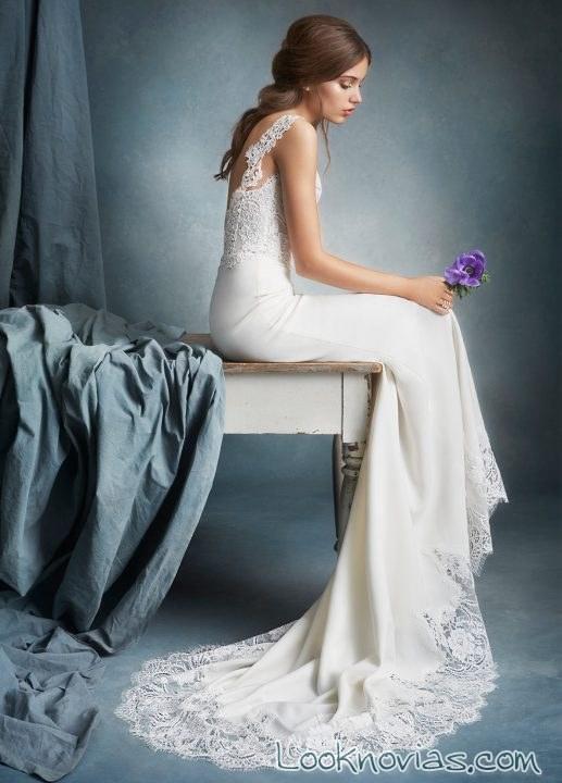 vestido recto novia con encajes