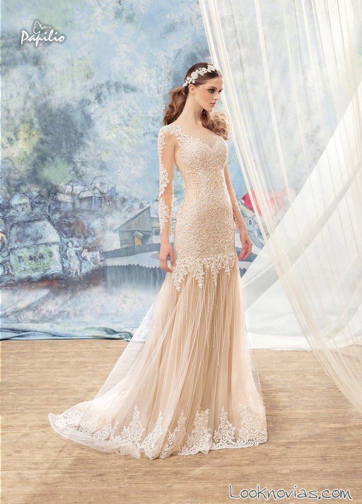 vestido recto novias color papilio