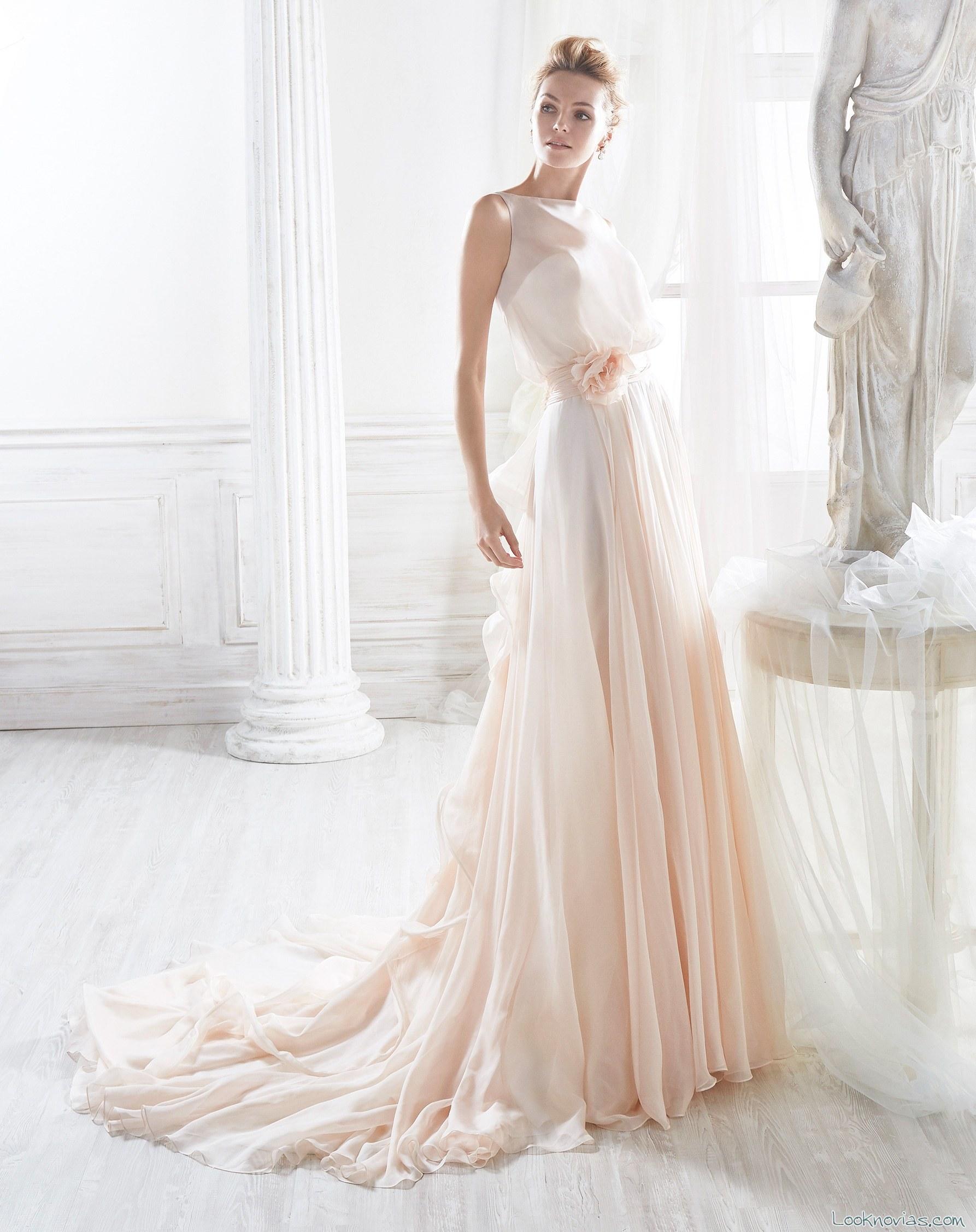 vestido recto novias con falda plisada