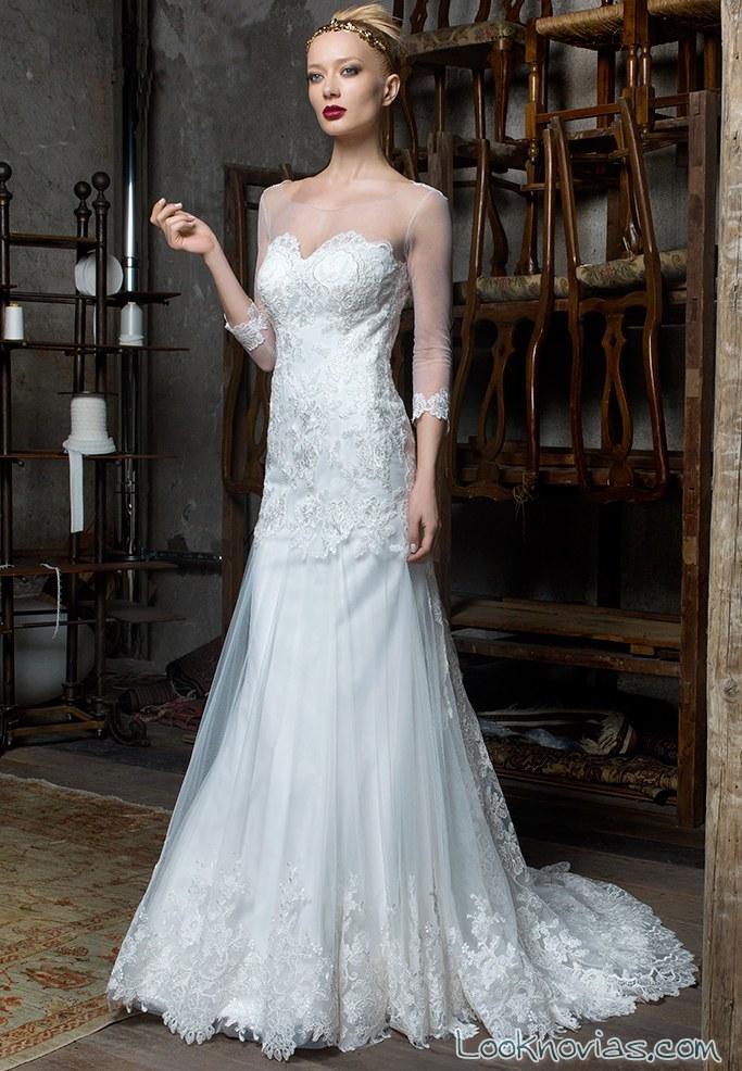 vestido recto novias en color blanco