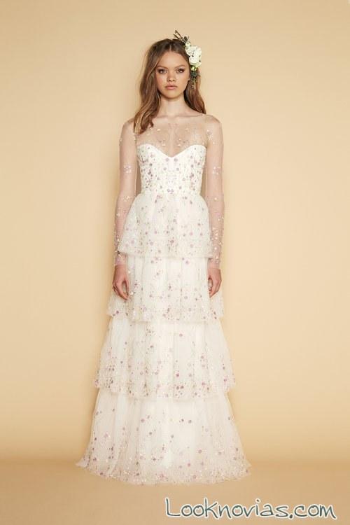 vestido recto novias grandes volantes