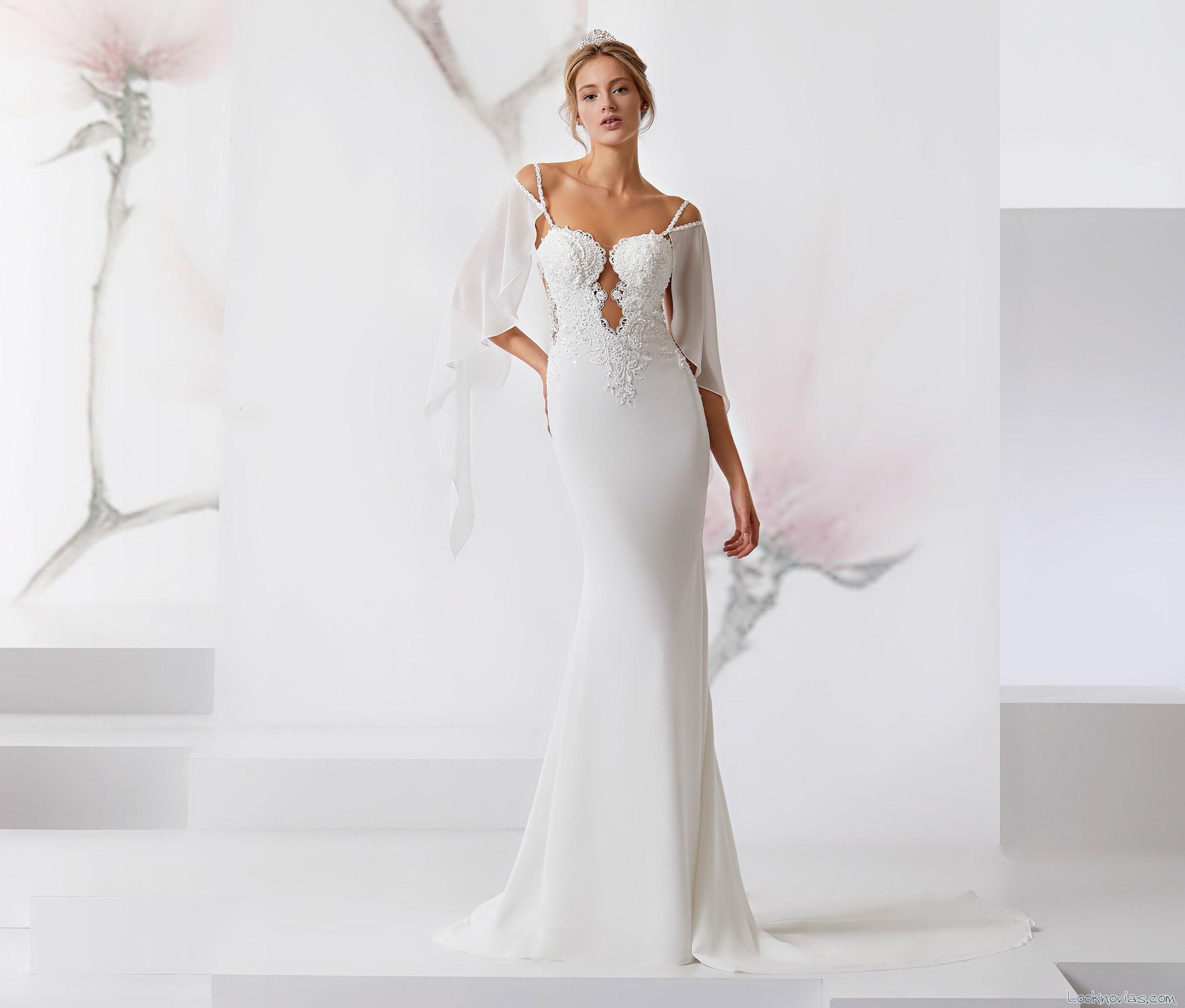 vestido recto novias media manga escotes