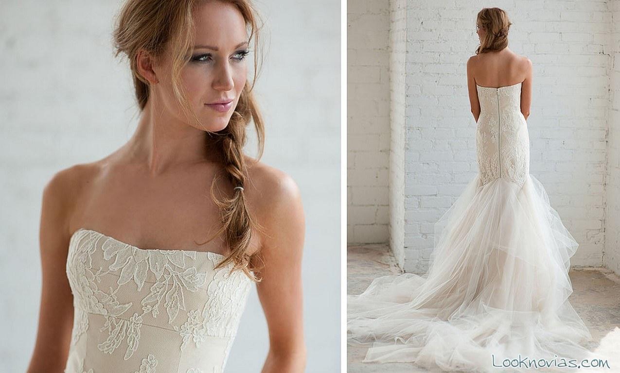 vestido recto novias sirena y encajes