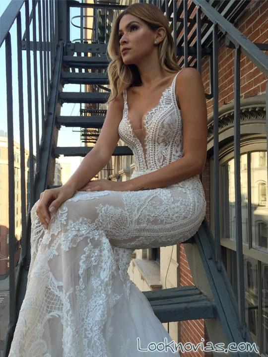 vestido recto pallas couture novias 2017