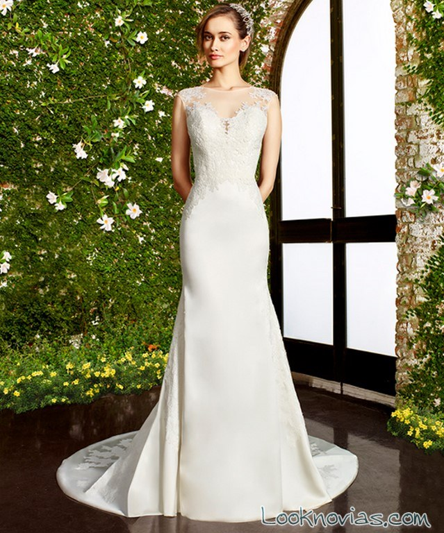 vestido recto strapless moonlight bridal