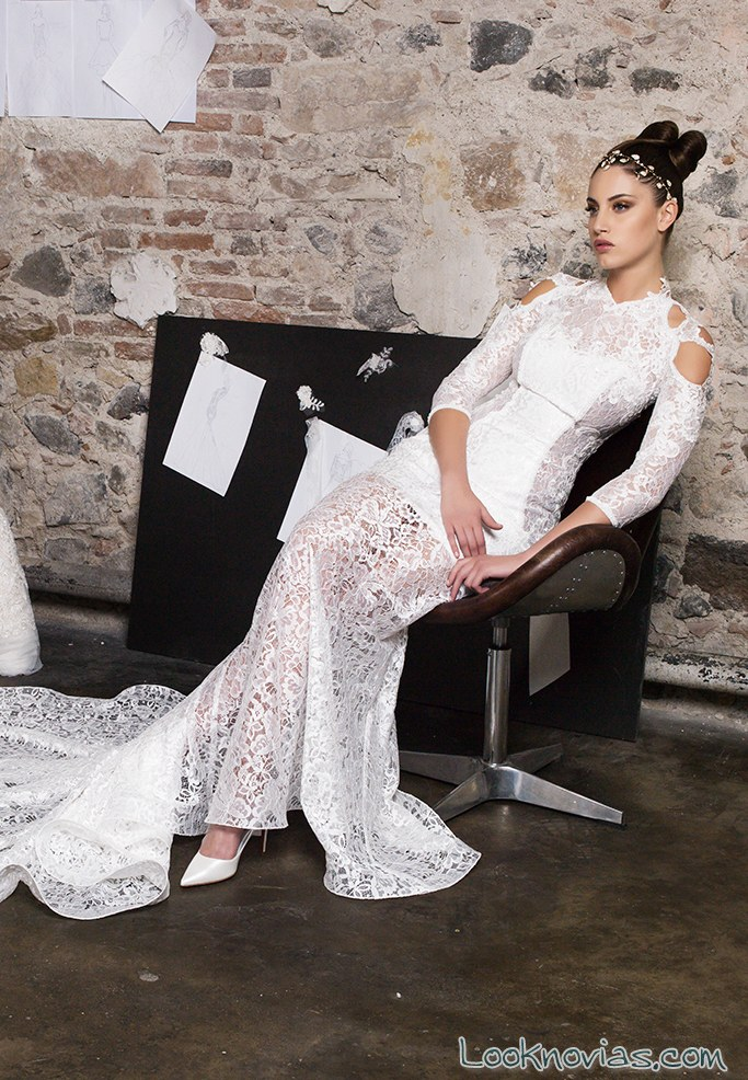 vestido recto transparencias novias gritti spose