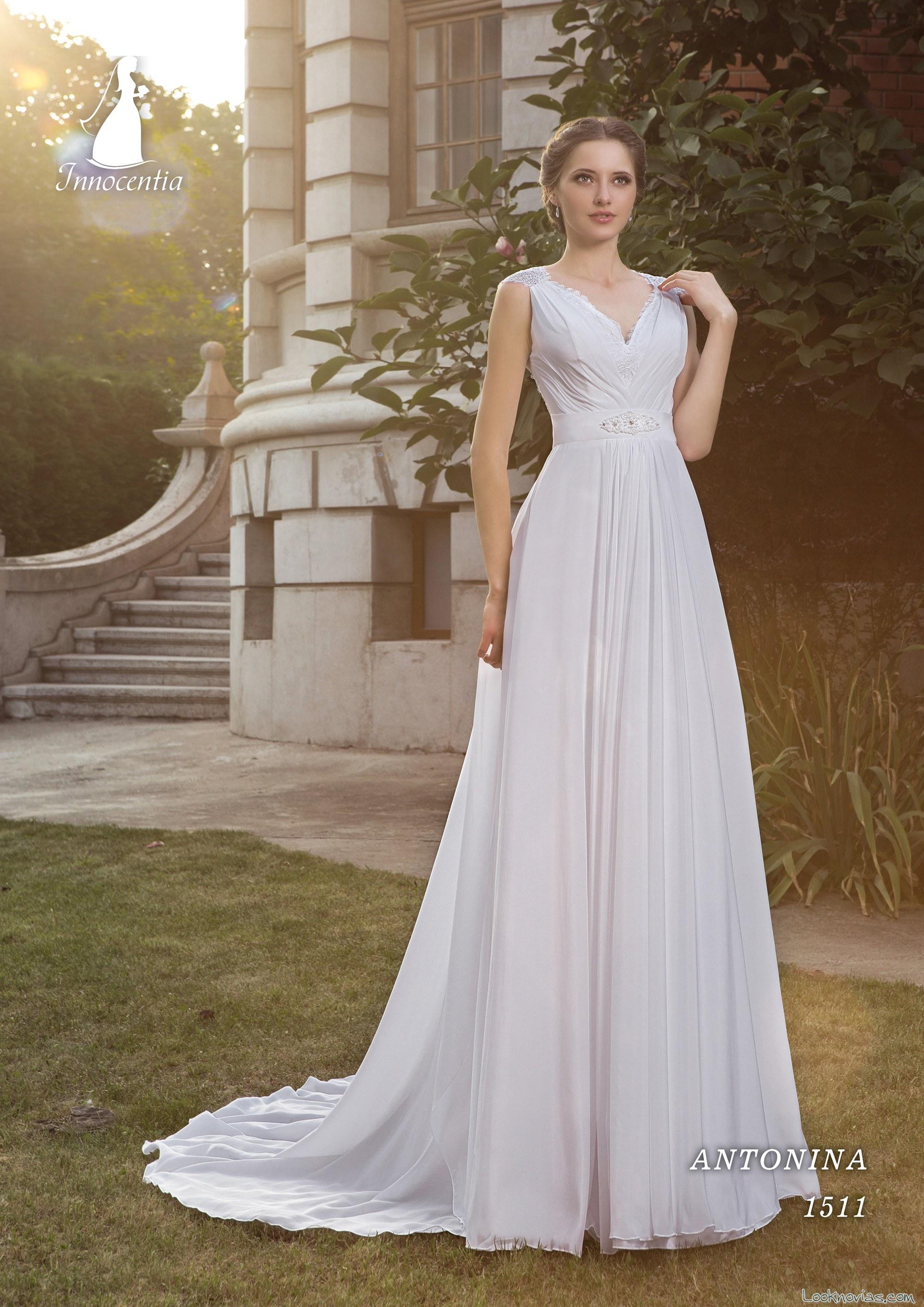 vestido recto vaporoso para novias