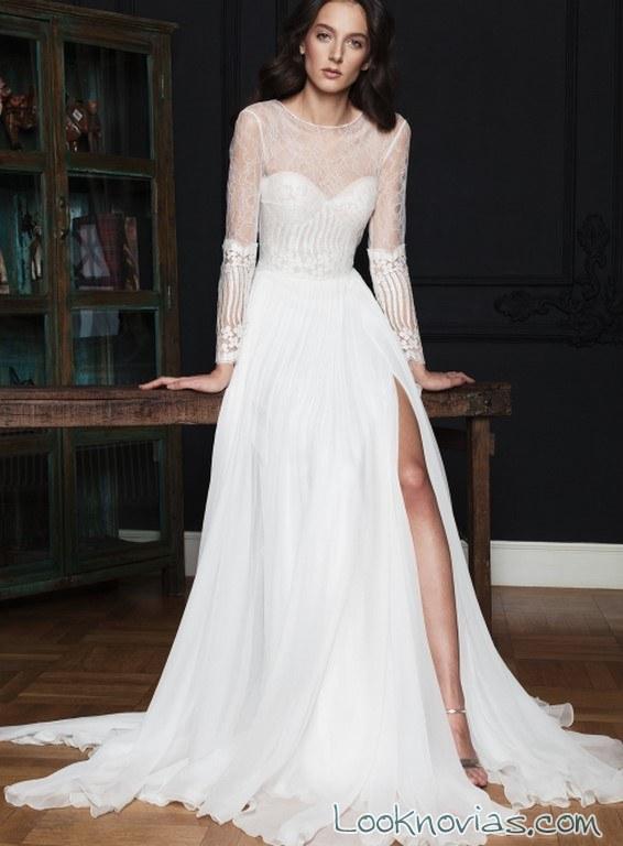 vestido rochii de mireasa con abertura en pierndas