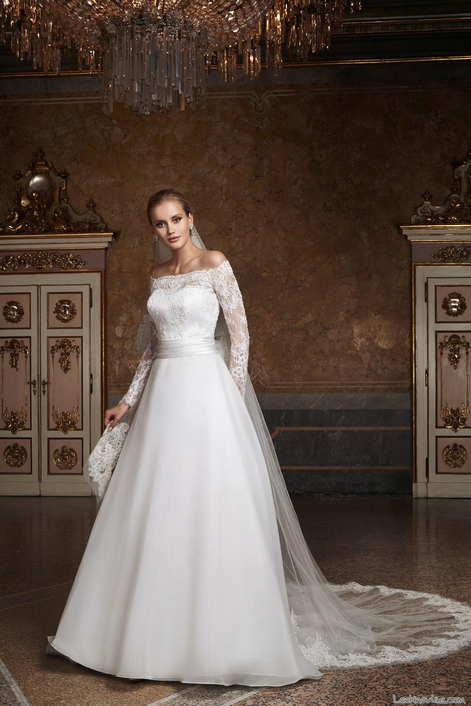 vestido romántico novias mangas