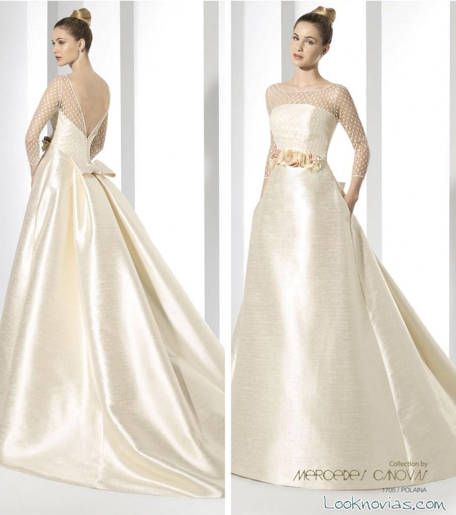vestido satinado de novia amanecer nupcial