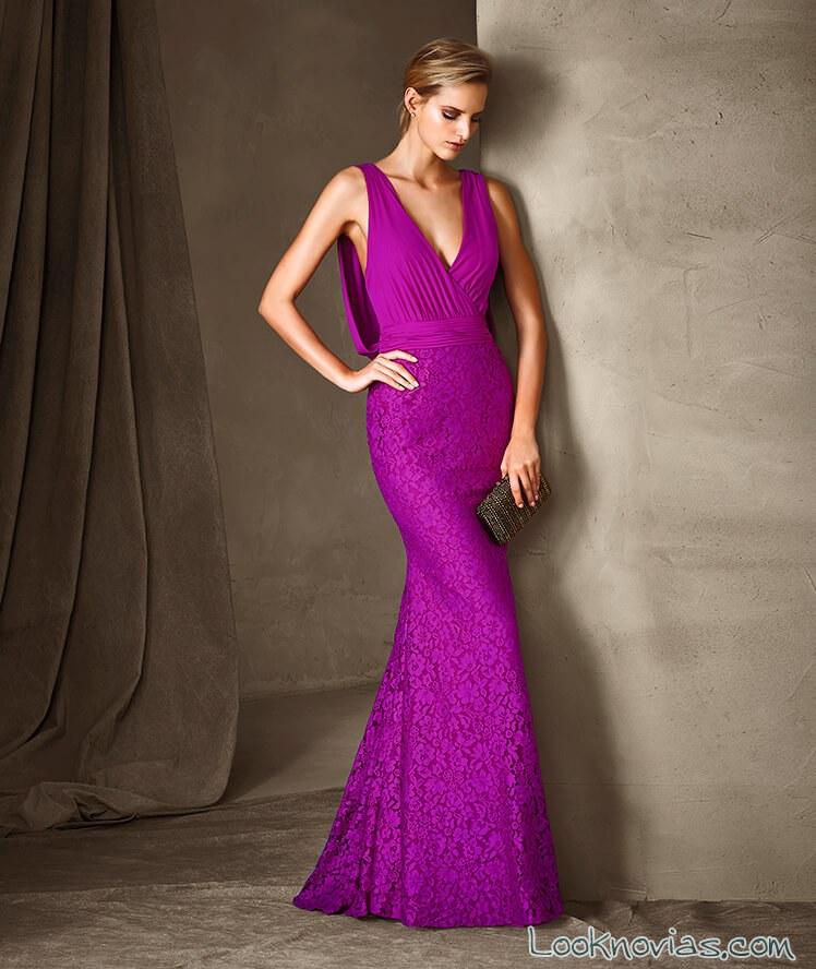 vestido sirena color malva encajes pronovias