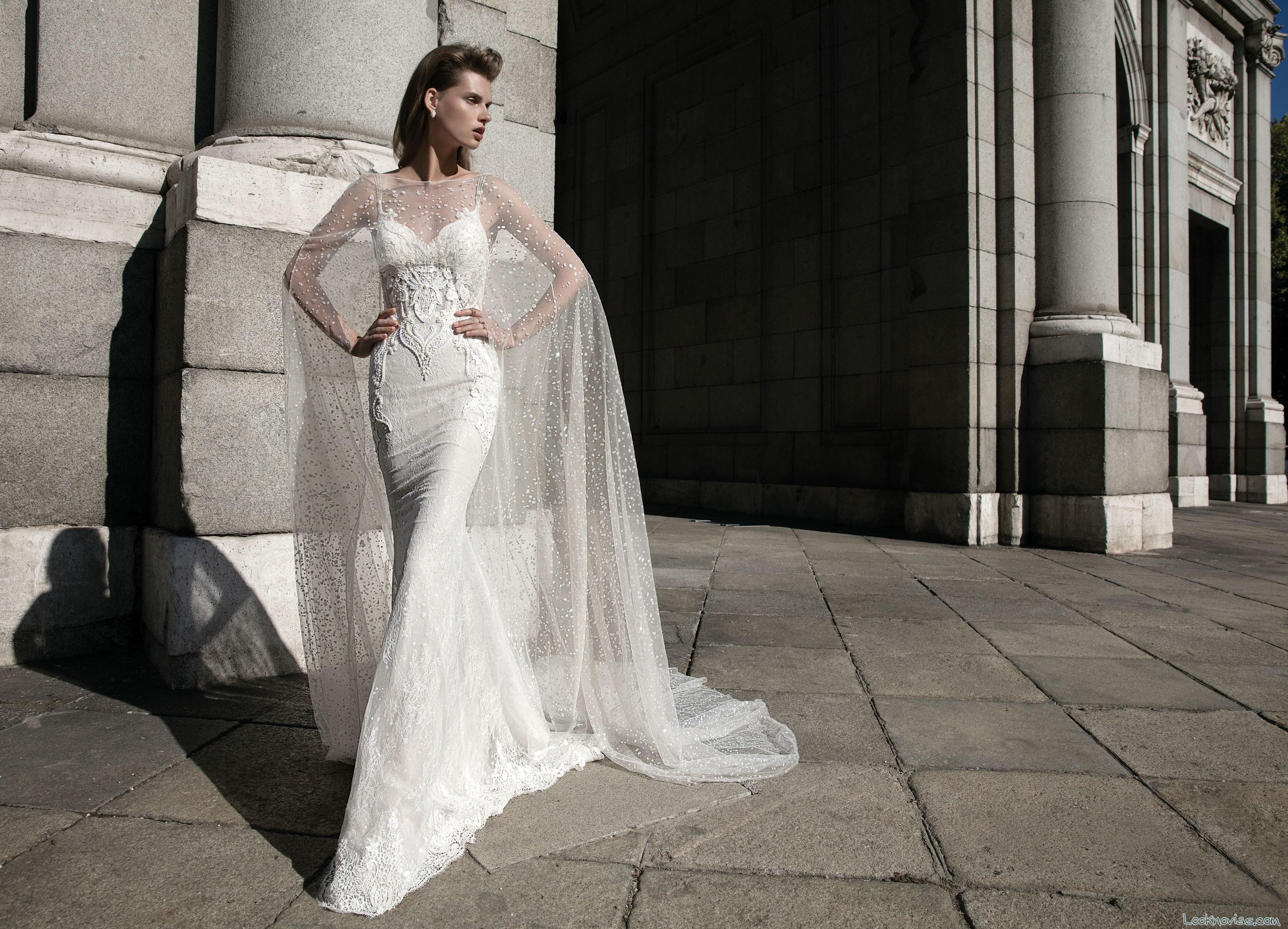 vestido sirena con capa berta bridal