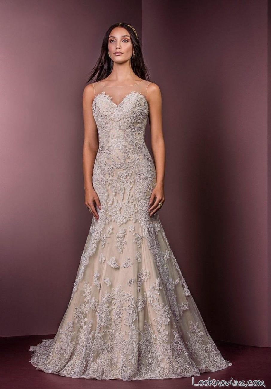 vestido sirena con encaje y color ellis bridals