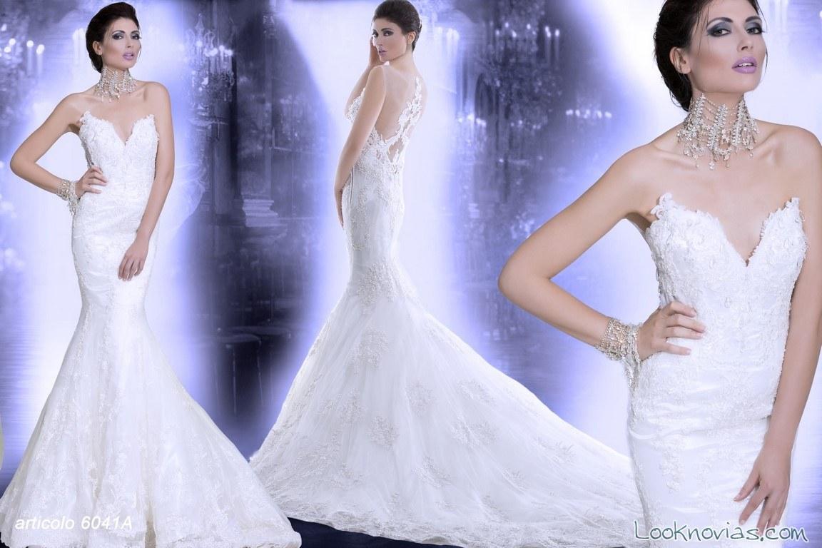 vestido sirena con escote de novias 2016