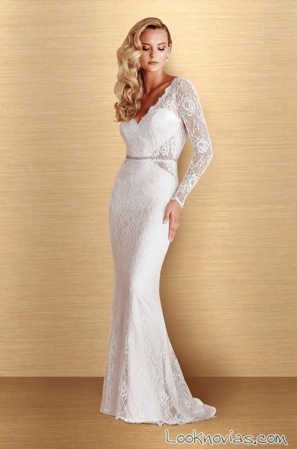 vestido sirena con mangas paloma blanca