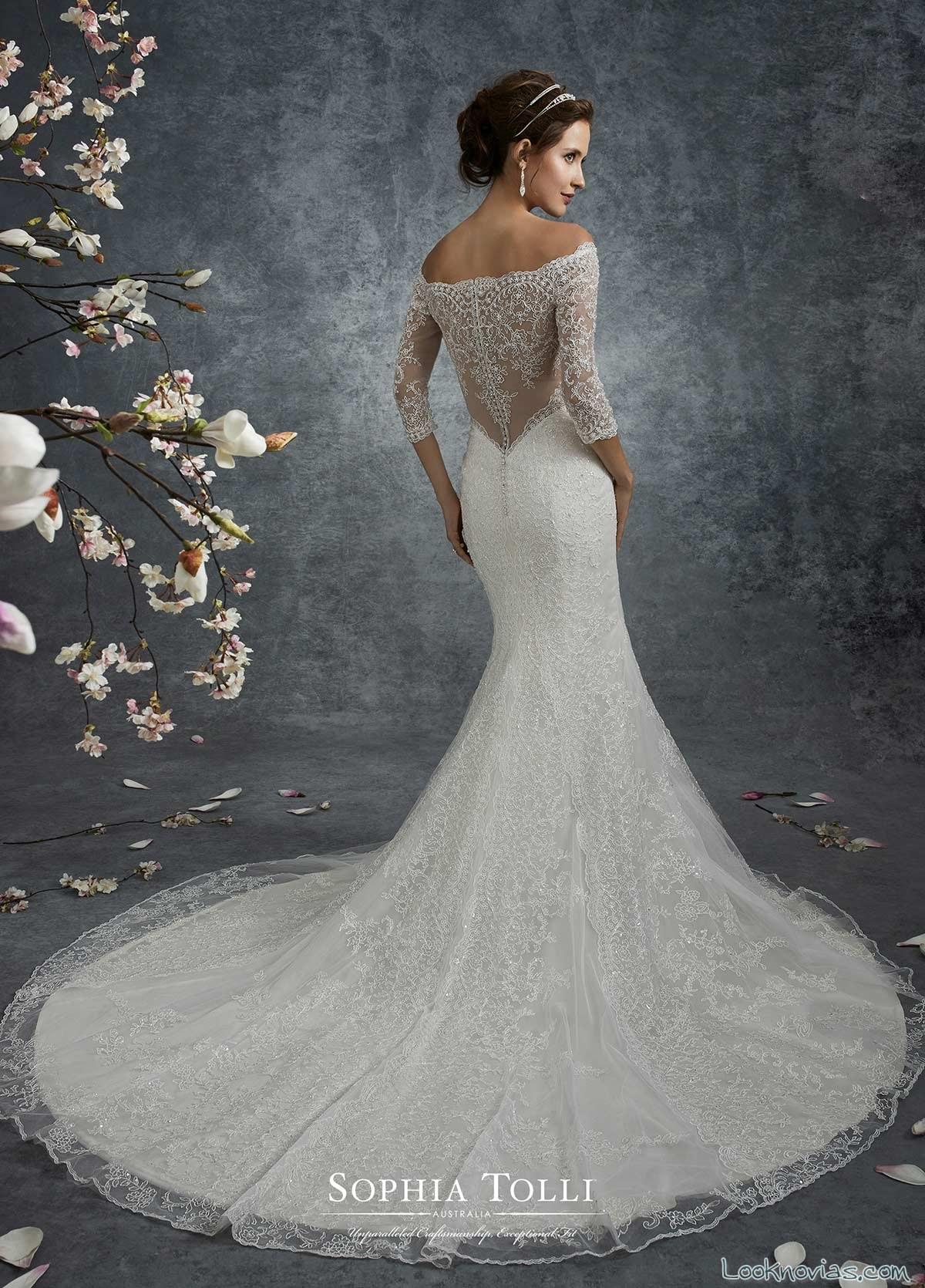vestido sirena de hombros caídos novias