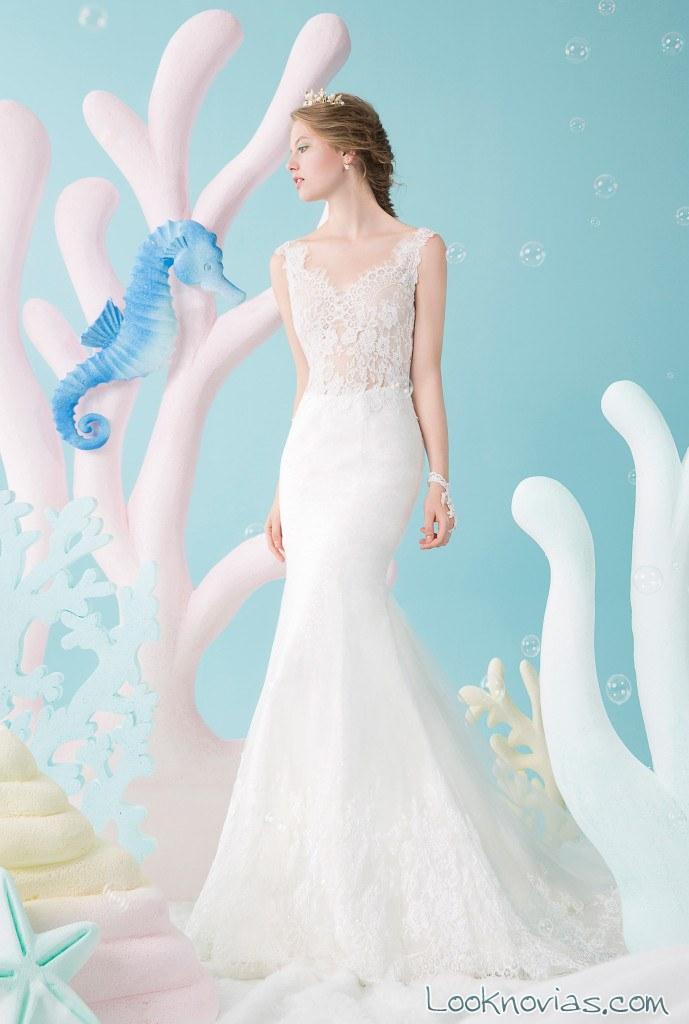 vestido sirena novias encaje rico a mona