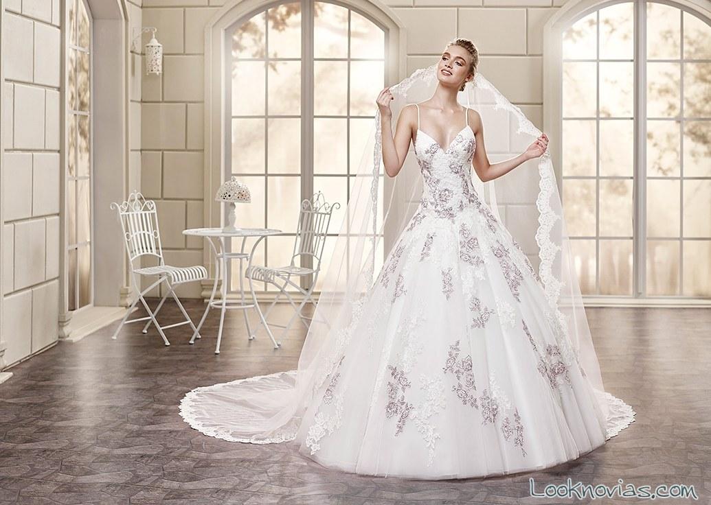 vestido strapless novias bordados color