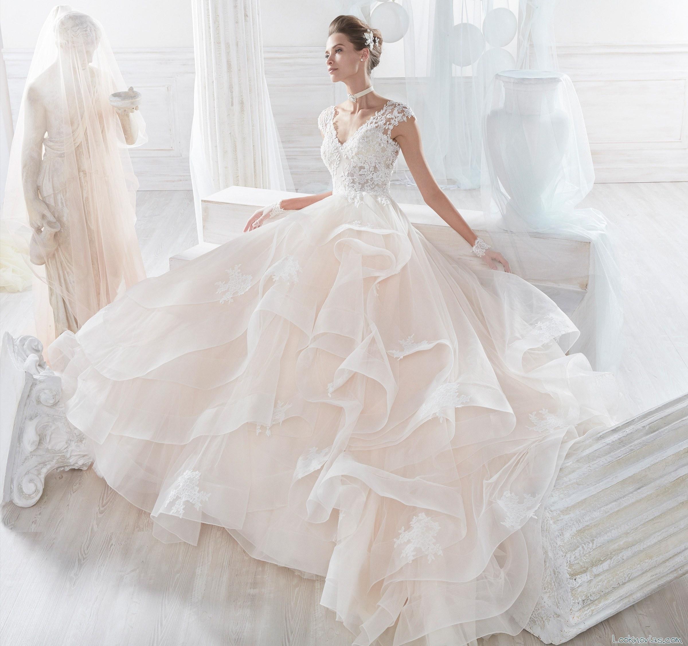vestido volantes nicole sposa 2018
