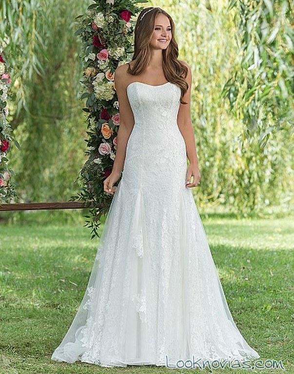 vestido volantes sweethear blanco