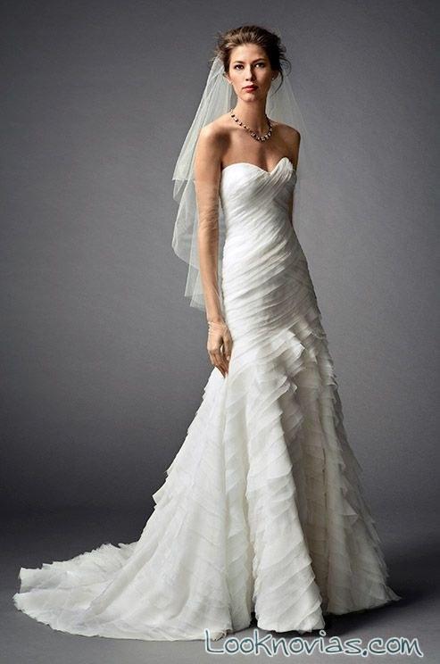 vestido Watters de novia en blanco