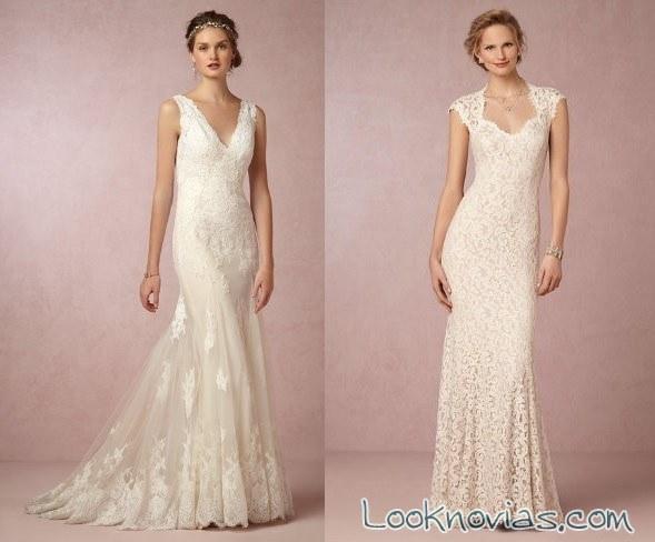 vestidos con tirantes o manga corta de novia