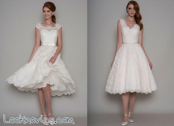 vestidos cortos de novia con pinceladas vintage