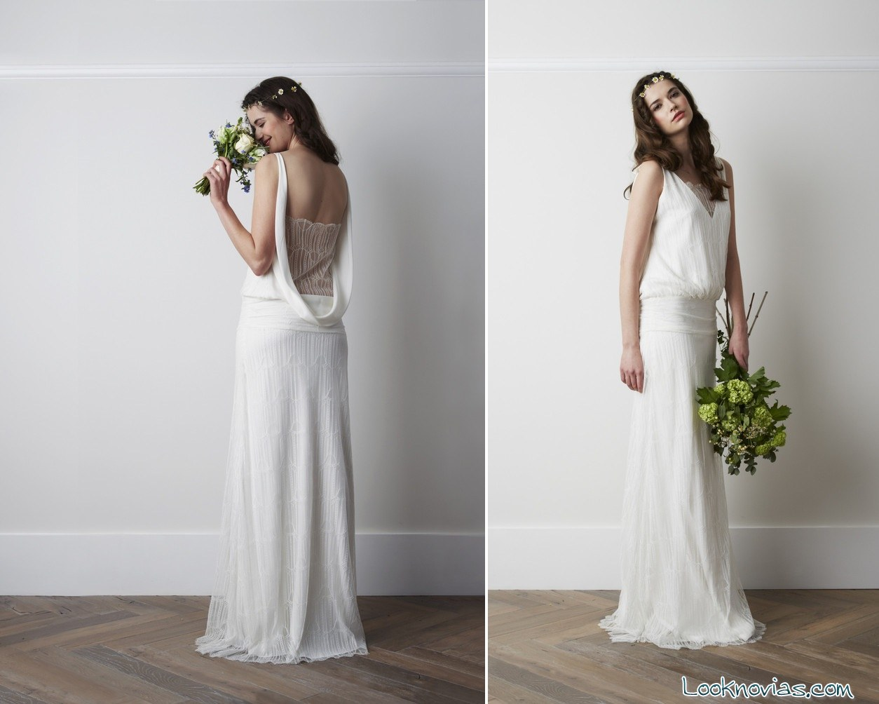vestidos de novia bohemios con escotes